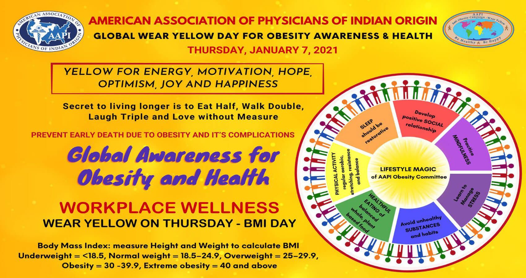 AAPI To Observe January 7th As Global Wear Yellow Day For Obesity Awareness & Health