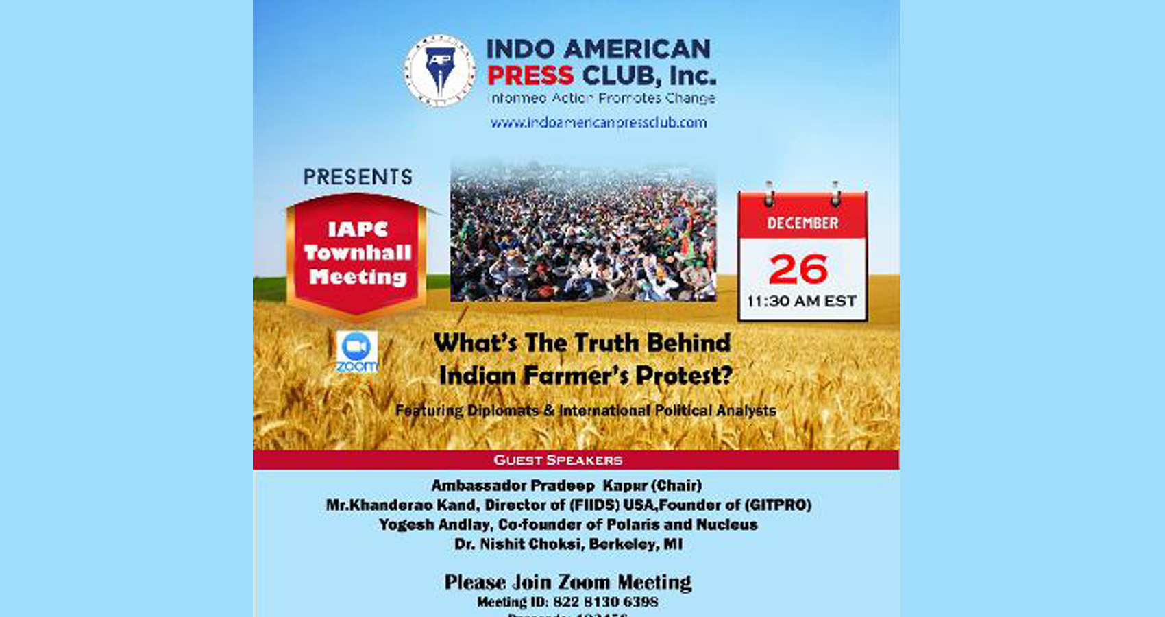 The Truth Behind The Indian Farmers Protests: Experts Weigh In At Webinar By IAPC