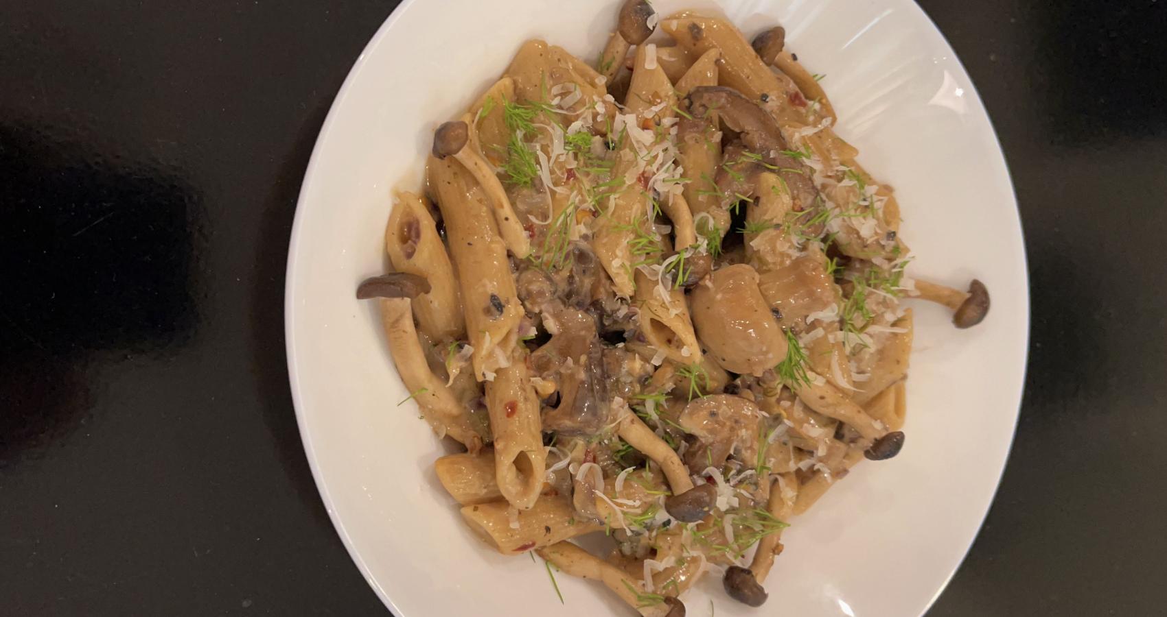 Four Mushroom Brown Penne W/ Parmesan & Dill