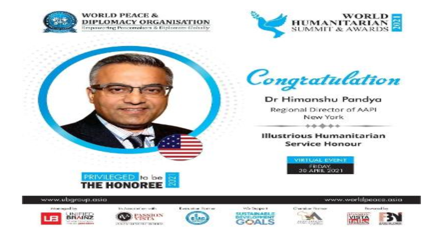 Dr. Himanshu Pandya Honored By World Peace & Diplomacy Organization