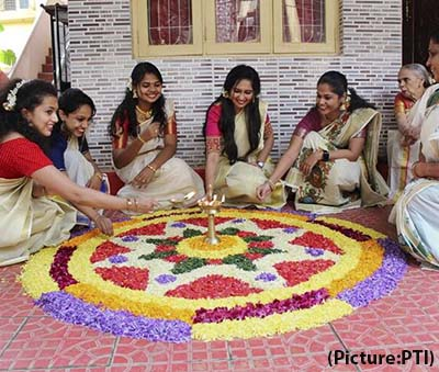 Onam pookalam Kerala festival
