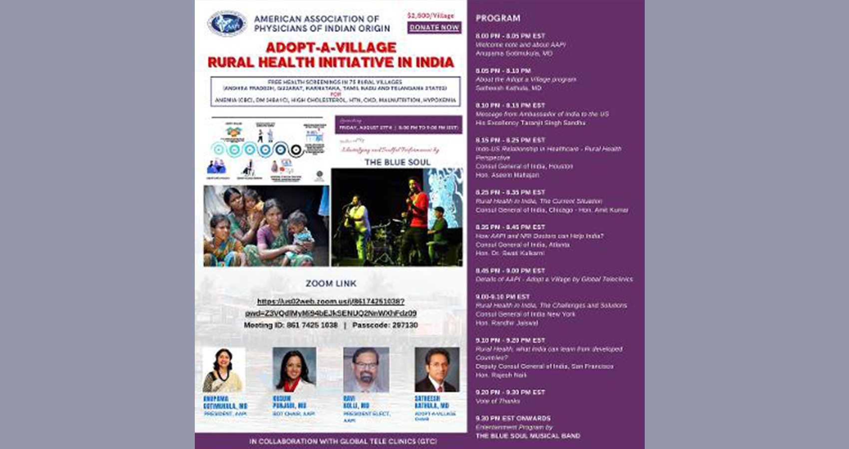 AAPI Launches Adopt-A-Village, A Rural Health Initiative In India Ambassador Taranjit Singh Sandhu & Consul Generals From All 5 Consulates In US Applaud AAPI's Efforts